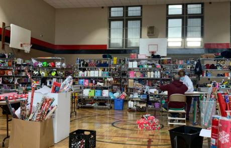 Milwaukee Rescue Mission's basketball court filled with donations from families